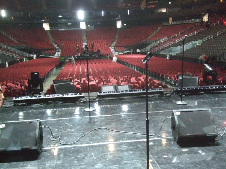 Onstage view of Prudential Center at Gospel Fest rehearsal